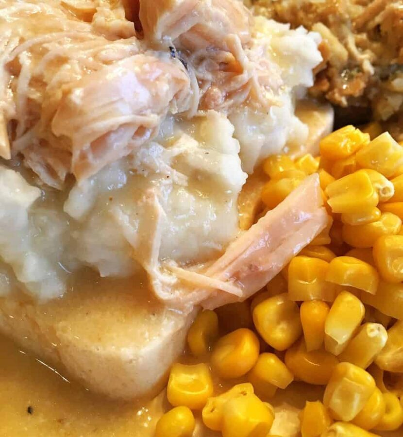 Chicken, corn, mashed potatoes and gravy