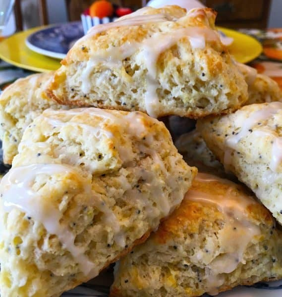 Plate full of Lemon Poppy Seed Scones