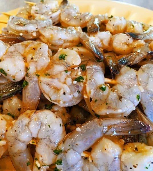 marinaded shrimp on skewers