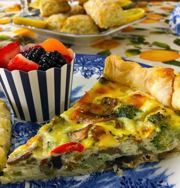 Slice Vegetable Quiche with fruit and scones