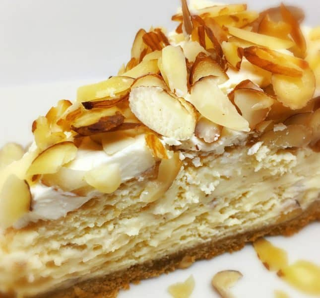 Slice of Almond Amaretto Cheesecake