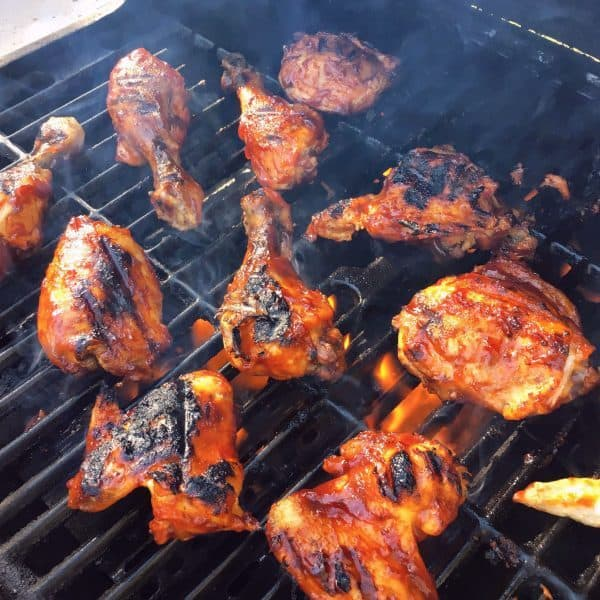 Grilled BBQ Chicken on the grill