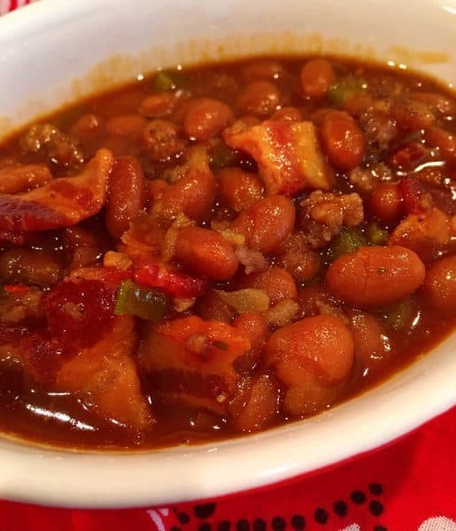 cooked loaded Cowboy baked beans