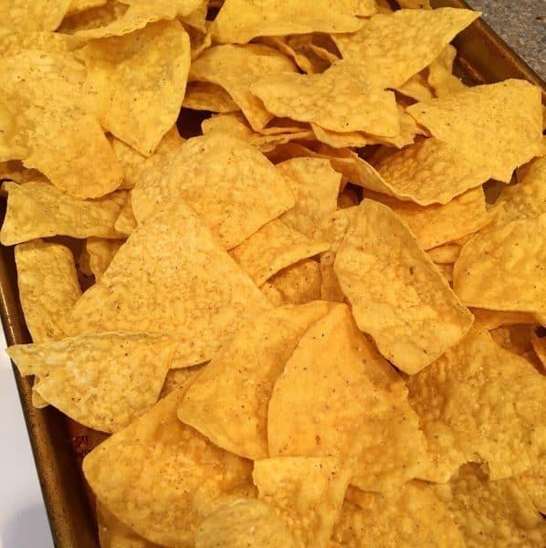 corn chips on a baking sheet