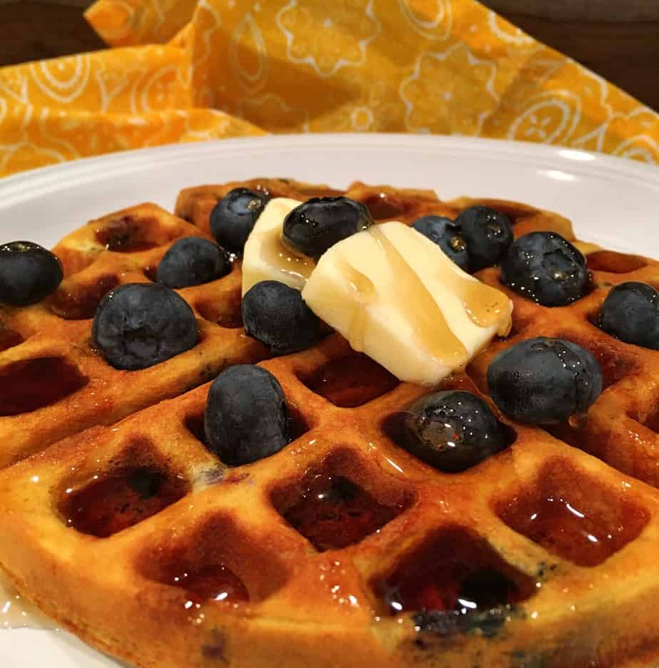 Waffles made with blueberries and bananas