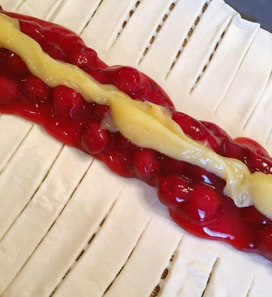 Cherry Pie filling and Lemon Curd down the center of the pastry