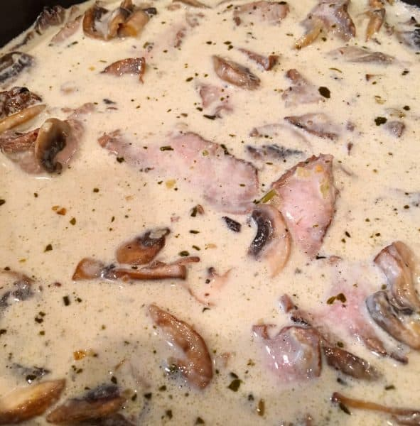 cream sauce added to steak and mushroom mixture