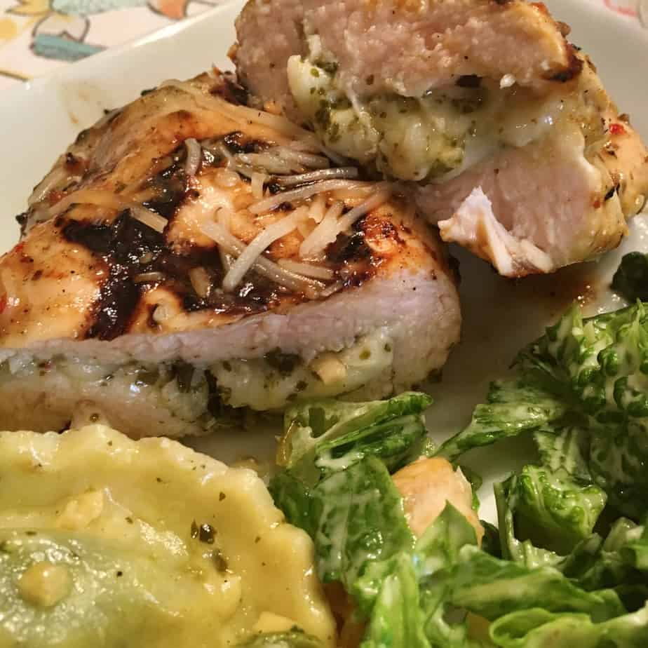 Chicken breasts stuffed with pesto and cheese