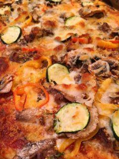 Home made garden pizza