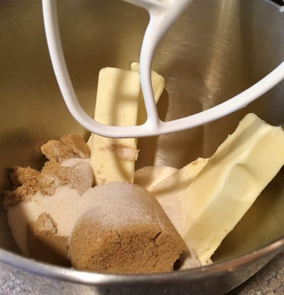 creaming butter and sugar in the mixer