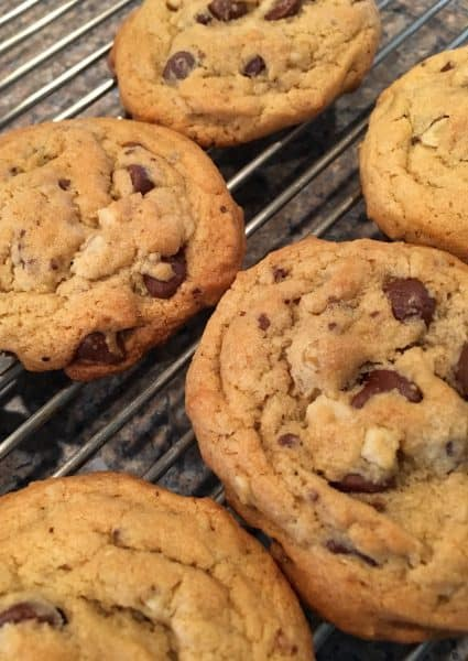 Semi-sweet chocolate chips with nuts on cooling rate