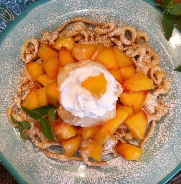 Peaches and cream funnel cake