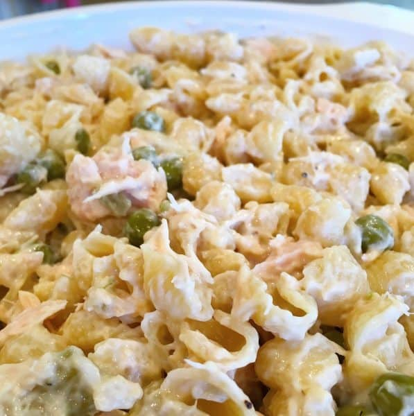 Tuna noodle casserole in the baking dish ready for the cheese and bread crumbs
