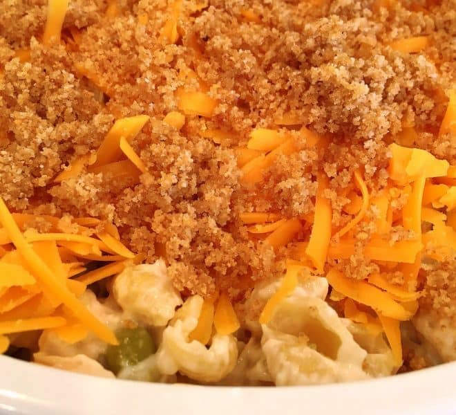 Tuna casserole topped with cheese and bread crumbs