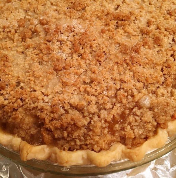 baked dutch apple pie with crumb topping