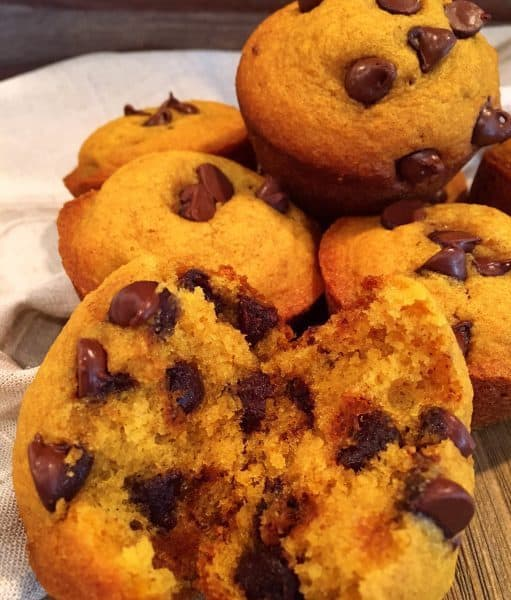 Pile of Pumpkin chocolate chip muffins