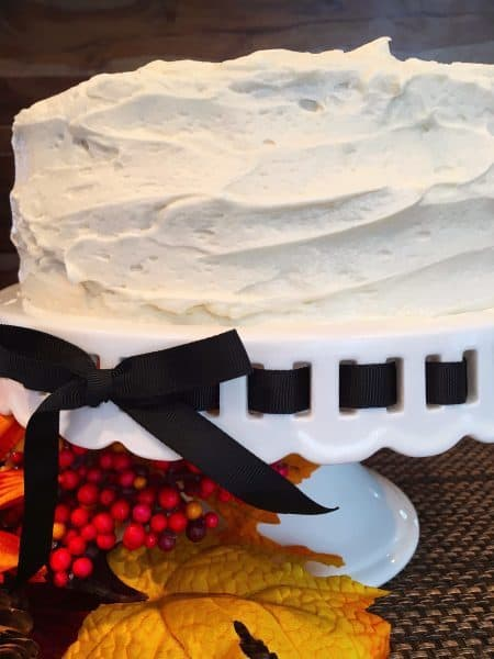 pumpkin cake frosted with cream cheese frosting