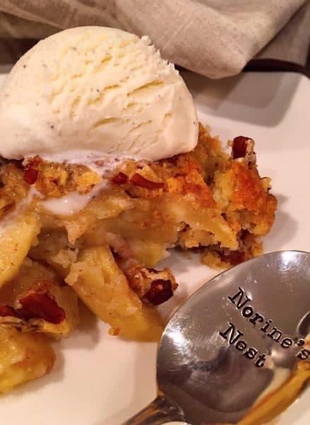 Serving of Apple Pecan Cobbler with ice cream