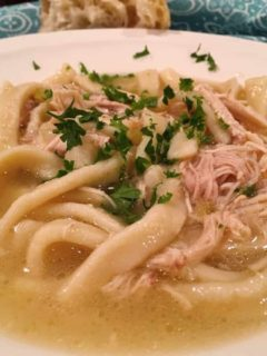 Chicken noodle make with homemade noodles, spices and chicken