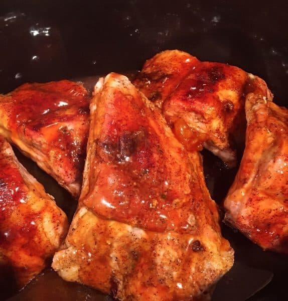 Slathered Honey Buffalo Ribs in slow cooker