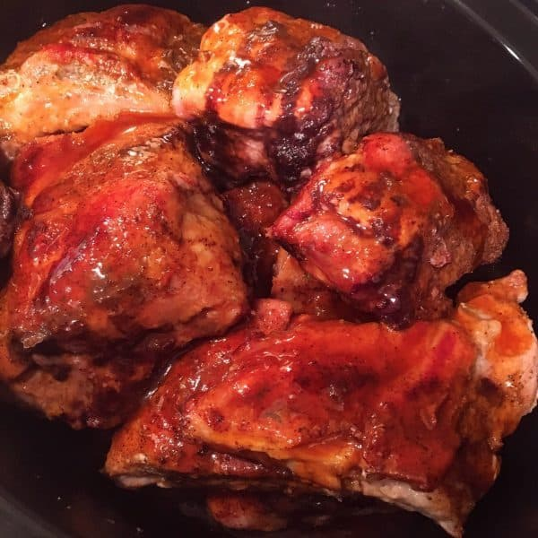slow cooked honey buffalo wings in the slow cooker