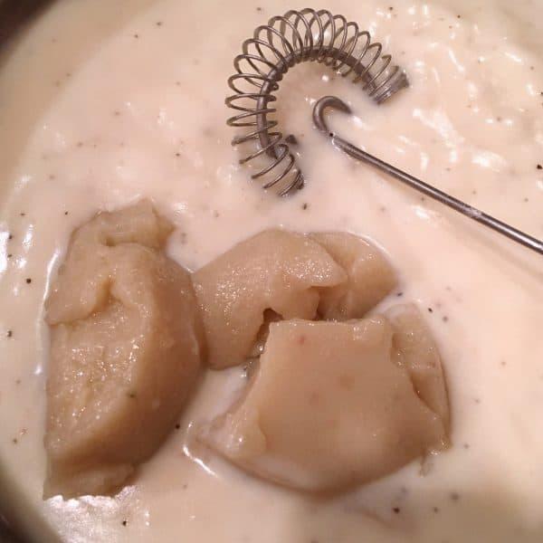 Adding left over gravy to cream sauce