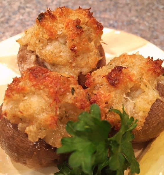Crab Stuffed mushrooms with garlic butter