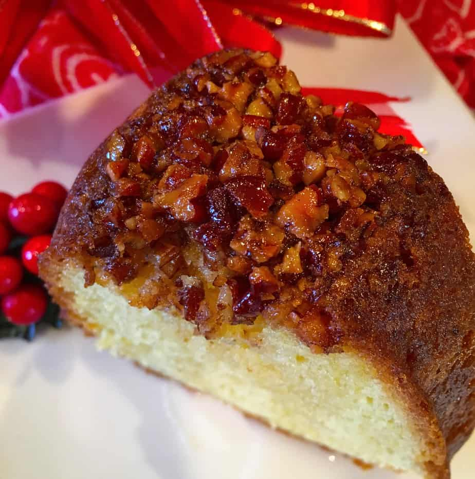 A delicious rum cake with nuts on top