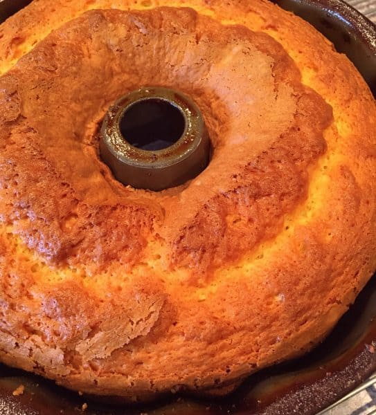 Rum cake baked and fresh out of the oven