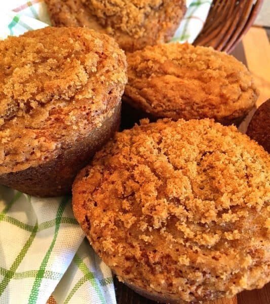 Banana Crumb Muffin in bread basket