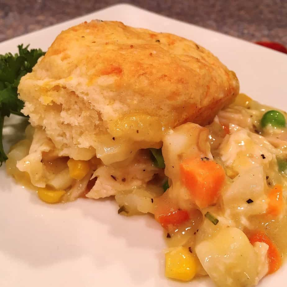 A chicken pot pie made with bisquits