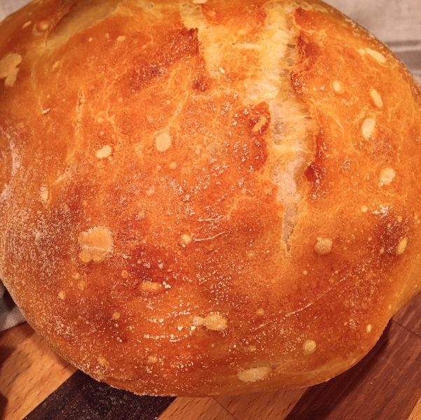 Loaf of no knead artisan bread fresh out of the oven