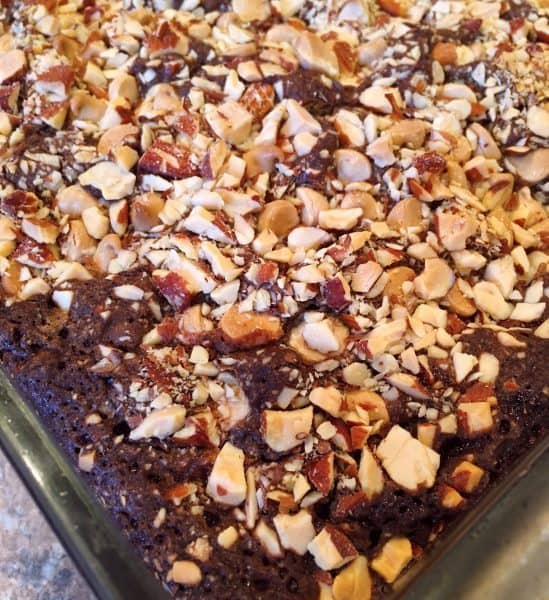baked dark brownies with raspberries, white chocolate, and chopped almonds.