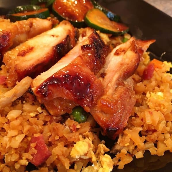Cauliflower fried rice with Teriyaki Chicken thighs