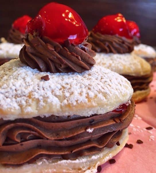 Chocolate Cherry Valentine Napoleons