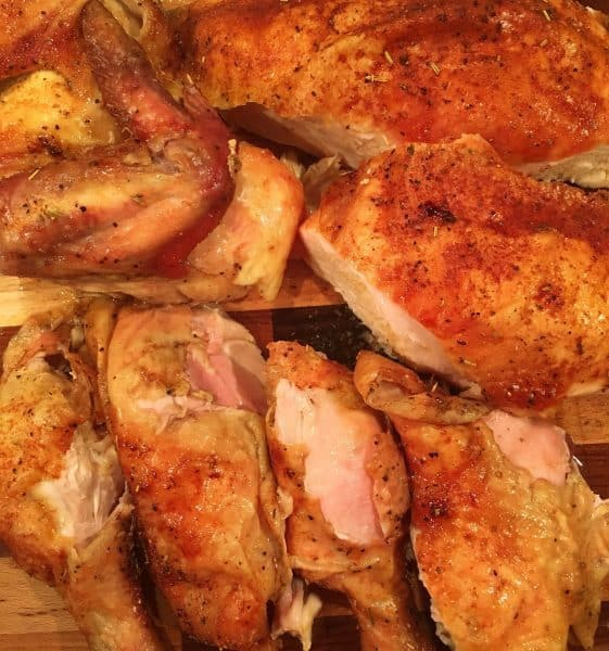 Cut up Slow Roasted Rotisserie style chicken