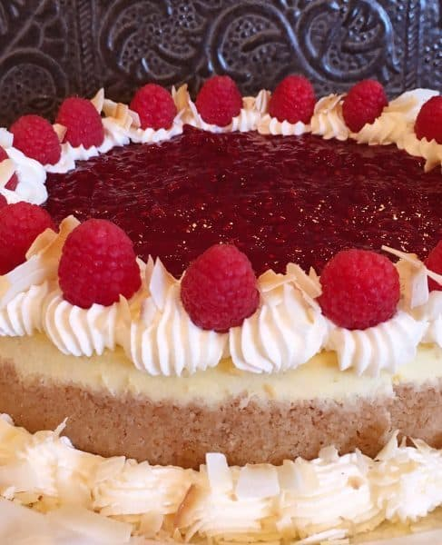Close up photo of Coconut Raspberry Cheesecake.