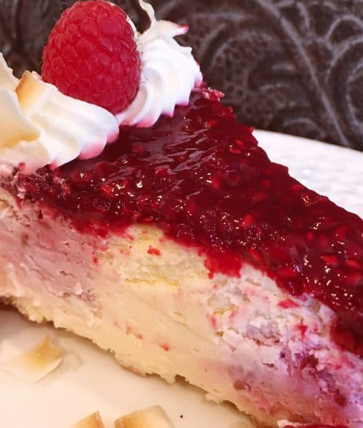 Slice of Coconut Raspberry Cheesecake