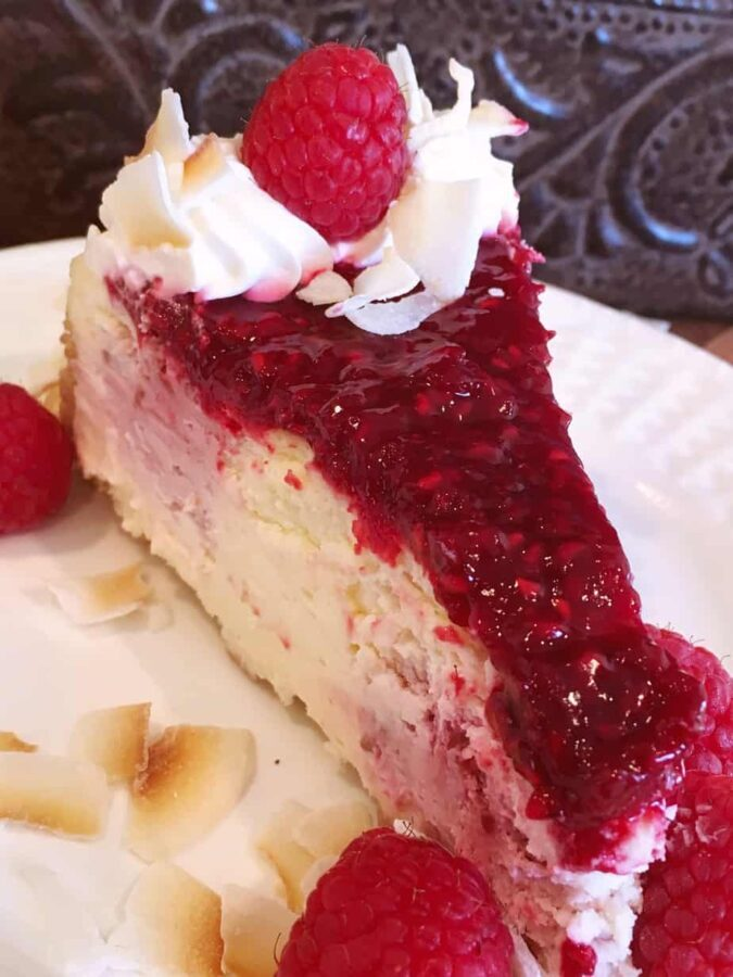 Slice of Coconut Raspberry Cheese cake