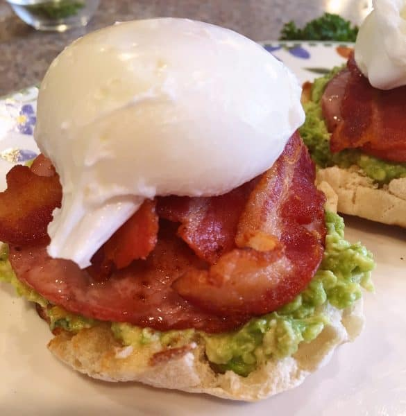 English Muffin, Bacon, Poached Egg for Eggs Benedict