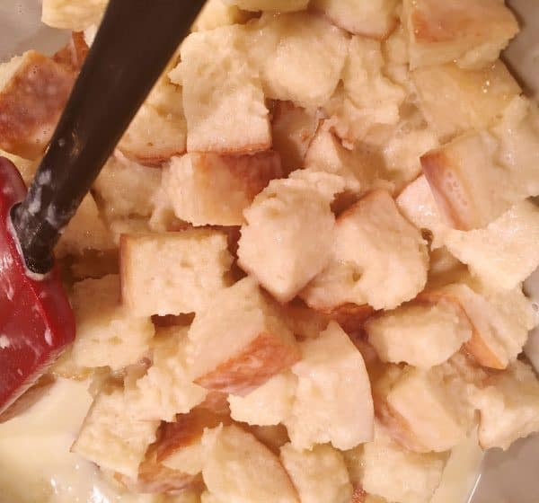 bread cubes added to pudding mixture.