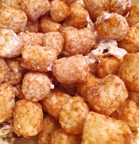 Folding in 2 lbs of frozen tater tots