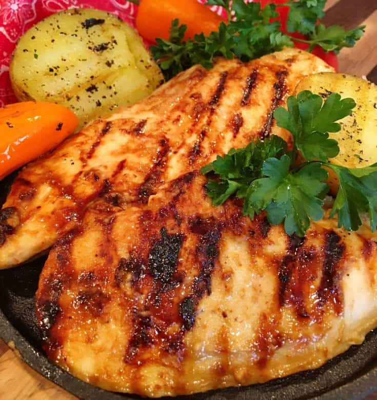 A creamy honey mustard marinade gets added zip from steak sauce. A delicious easy summer grilled chicken recipe.
