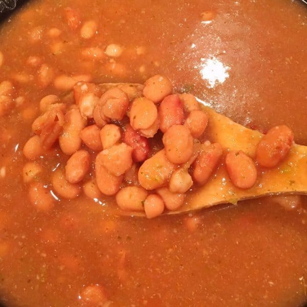 Beans in the slow cooker cooked and ready to eat