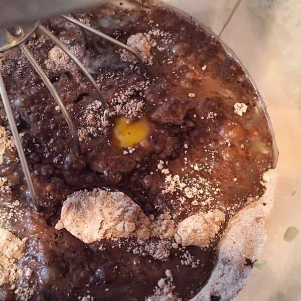 Cake batter being mixed