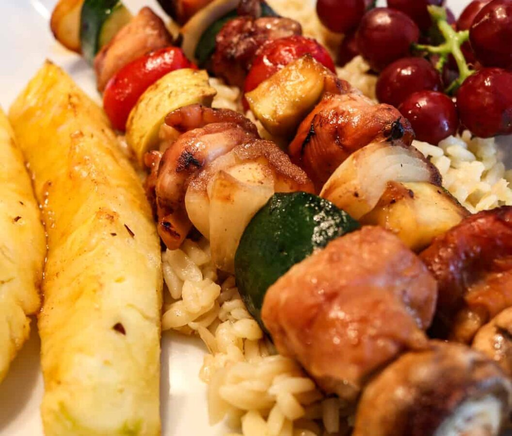 Close Up of Grilled Teriyaki Chicken Kabobs