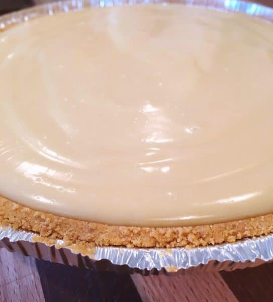 Pie filling poured into crust