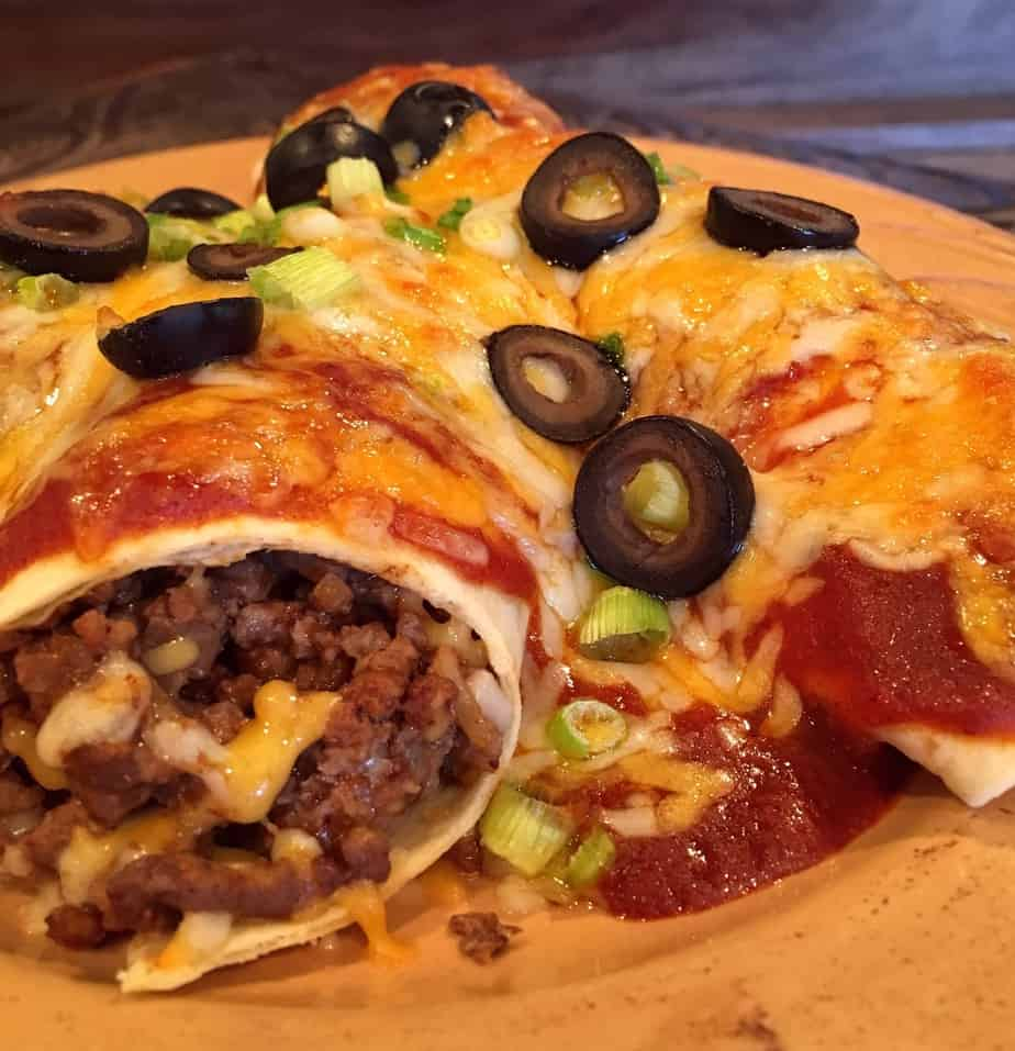Easy Ground Beef Enchilada's on a plate
