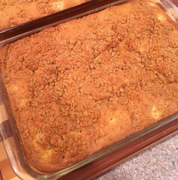 cooling rhubarb coffee cake