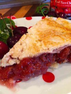 Slice of Traditional Homemade Cherry Pie
